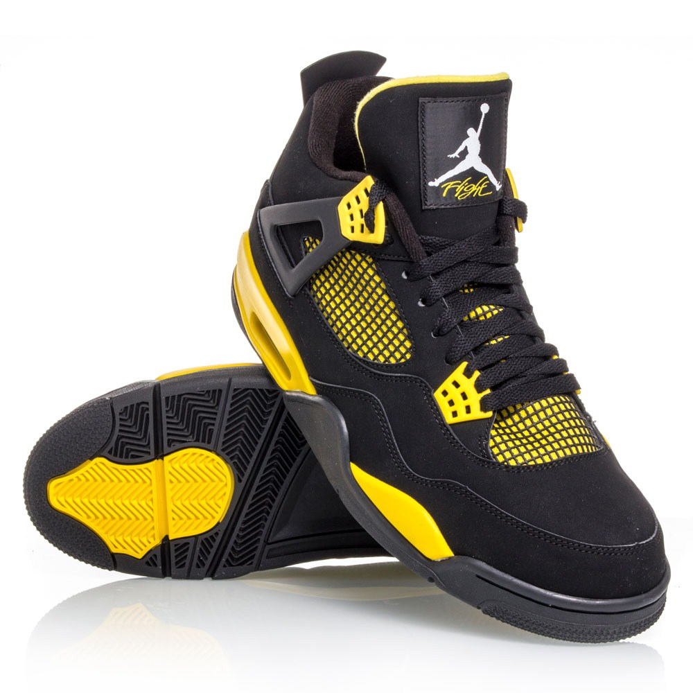 Air Jordan 4 Retro - Mens Basketball Shoes - Black/Yellow ...